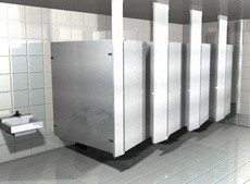 Ceiling hung toilet partitions