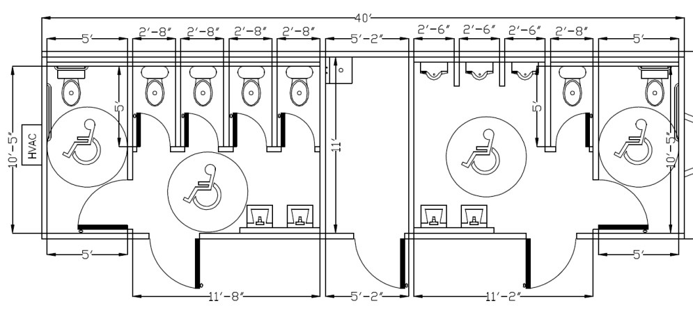Example of an ADA toilet partitions multiple stalls with measurements - Overhead