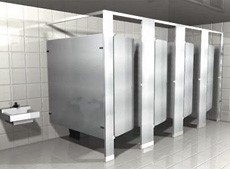 Over head braced floor mounted toilet partitions