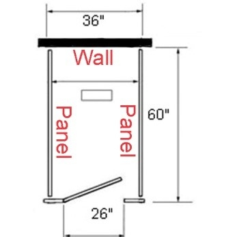 Toilet partition layout with no side walls, only rear