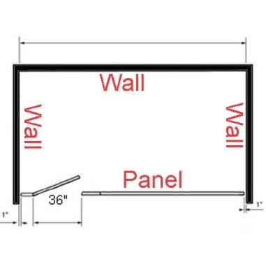 ADA toilet partition layout with walls on three sides