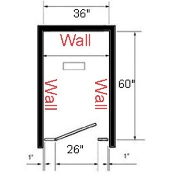 Toilet partition layout with wall on two sides