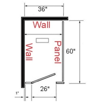 Toilet partition layout with wall on the right or left side